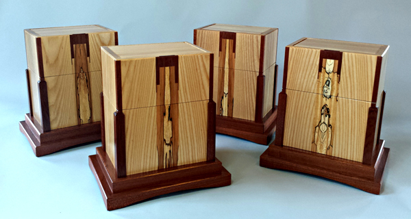 Set of four funeral urns